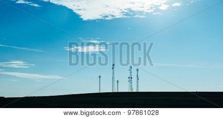 Five Telecommunication Mast Tv Antennas