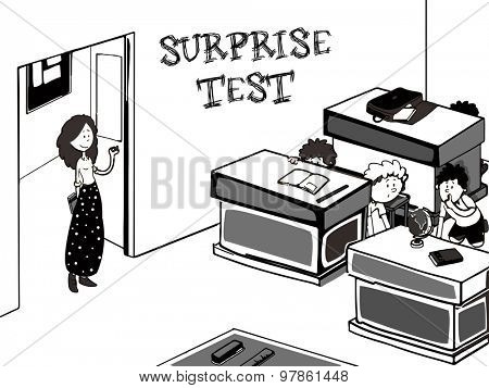 Creative illustration of a teacher entring in classroom and saying about surprise test, But all the students hiding behind desk.