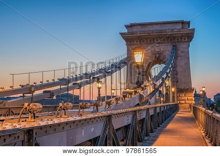 The Szechenyi Chain Bridge (Budapest, Hungary)