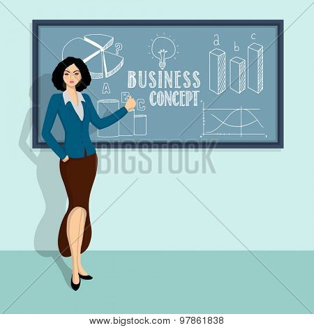 Creative illustration of a young businesswoman presenting best information and ideas, How to growth in successful business.