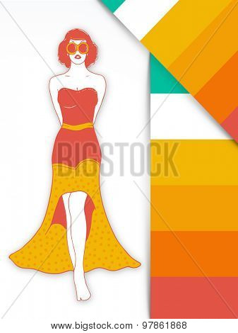 Young fashionable retro walking girl in stylish gown on vintage background.