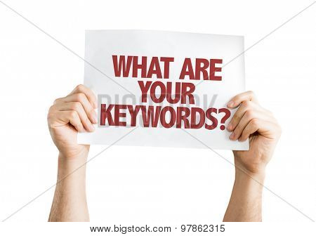 What Are Your Keywords card isolated on white