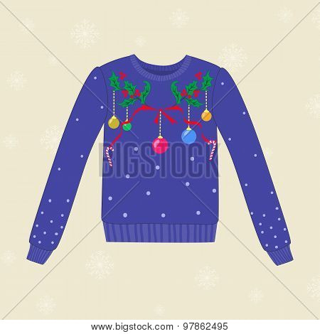 Christmas Hand Drawn Sweater With Christmas Decorations