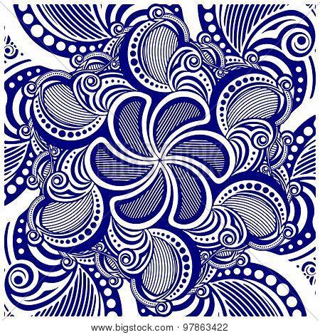 Square Asymmetrical Decorative Element - Lace Mandala In Zentangle Style. Stylized Vector Illustrati