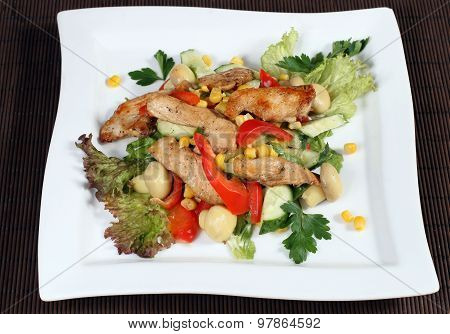 Salad With Meat And Vegetables