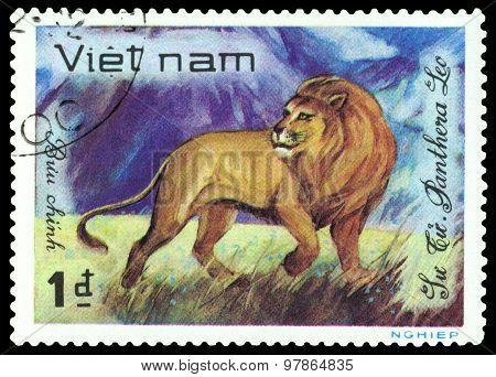 Vintage  Postage Stamp.  Lion.