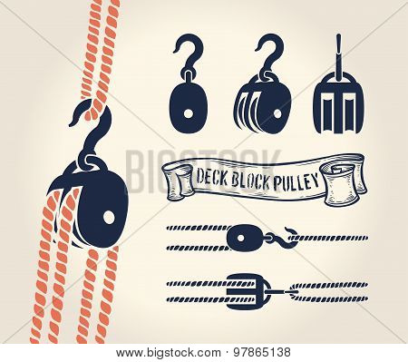 Deck block pulley with rope