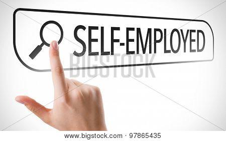 Self-Employed written in search bar on virtual screen