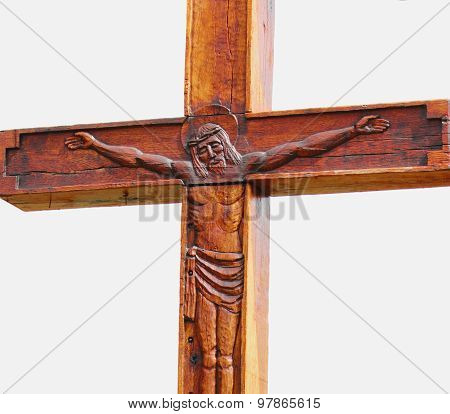 Fragment Of Statue Of Crucified Jesus Christ  (an Ancient Wooden Sculpture)