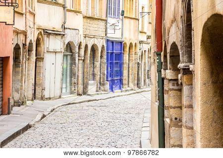 Charming Street In Lyon, France