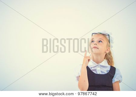 Kid thinking about something, isolated