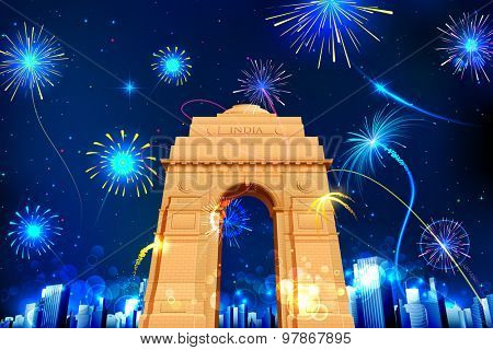 illustration of firework display in India Gate for celebration