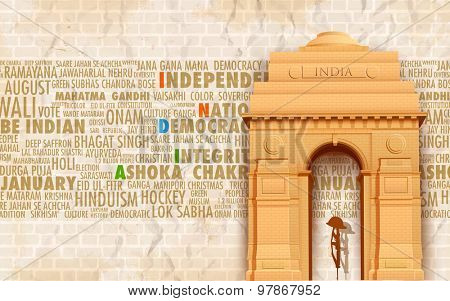 illustration of India gate on abstract background with relative text