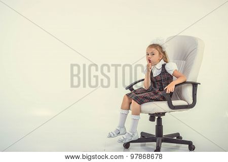 Schoolgirl Sit On Chair And Ask To Be Quiet