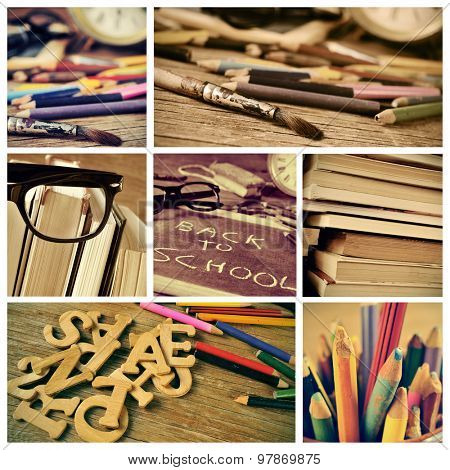 collage of some pictures of different details of a retro school desk full of colored pencils and books, and the text back to school written with chalk in a chalkboard