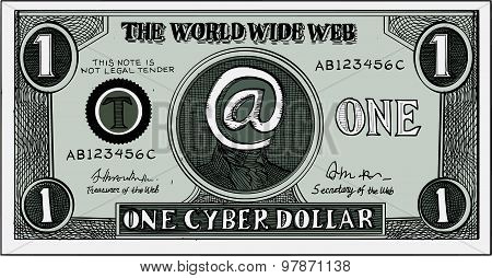 One Cyber Dollar Etching