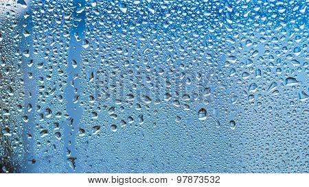 Rain Drops - Blue Sky Background