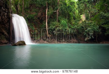 Peaceful nature background of waterfall in forest