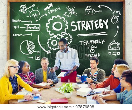Strategy Solution Tactics Teamwork Growth Vision Concept