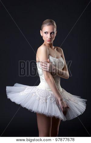 Ballet. Beautiful dancer posing in tutu