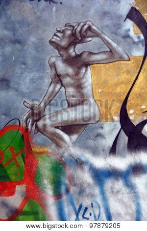 Street art Montreal nude man