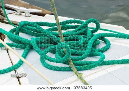 Yachting, Green Rope On Deck Of Sailboat, Details Of Yacht
