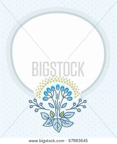 Postcard, Blue Frame, Blue Fl...
