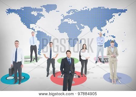 Business team against blue world map on white background