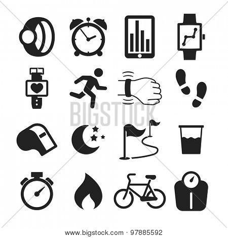 Jogging and workout modern monitoring apps and gadgets icons collection