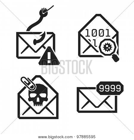 Emailing risk and safety icons.  Isolated on white background  // Black & White