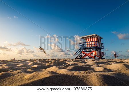 Colorful Lifeguard Tower In South Beach, Miami Beach,