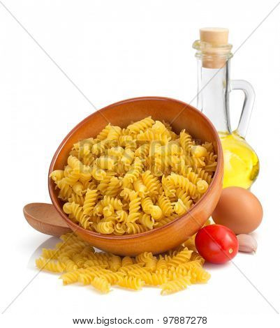 pasta fusilli isolated on white background