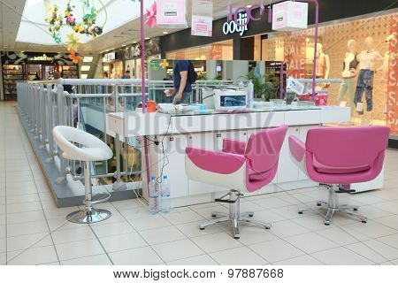 Moscow, Russia, August, 3, 2015: Beauty shop in shopping center
