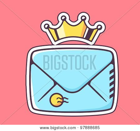 Vector Illustration Of Closed Blue Envelope With Crown On Red Background.