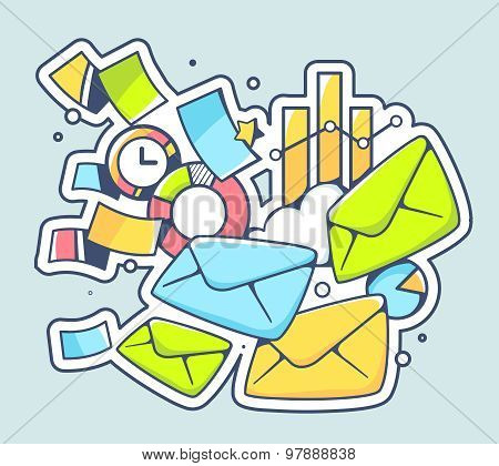 Vector Illustration Of Many Envelopes And Financial Documents On Color Background