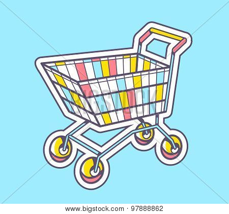 Vector Illustration Of Colorful Shopping Trolley Top View On Blue Background.