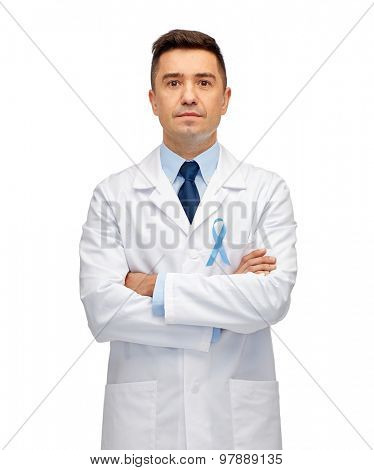 healthcare, profession, people and medicine concept - male doctor in white coat with sky blue prostate cancer awareness ribbon