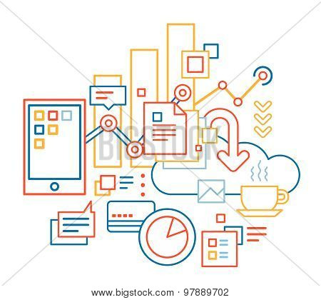 Vector Linear Illustration Of Color Business Processes Set On White Background.