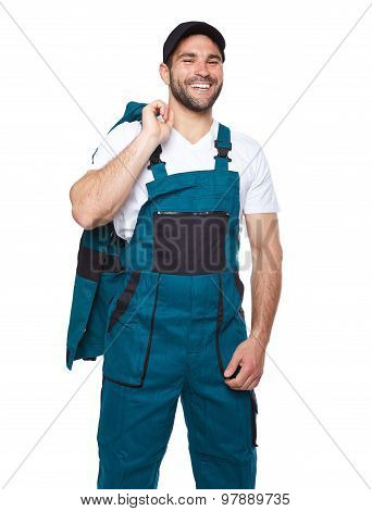 Cheerful Engineer Standing In Work Clothes