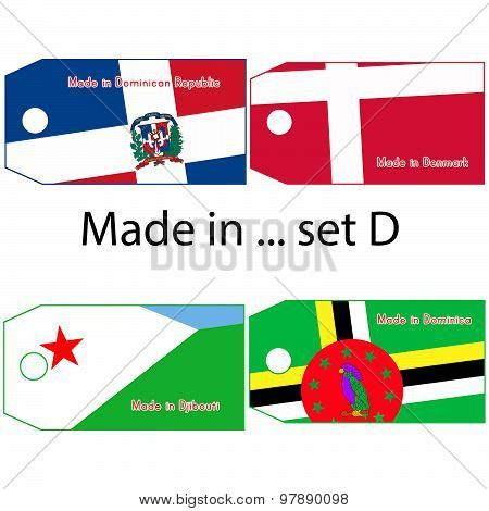 Illustration Vector Price Tag With Word Made In Country's Name Start With Letter D.