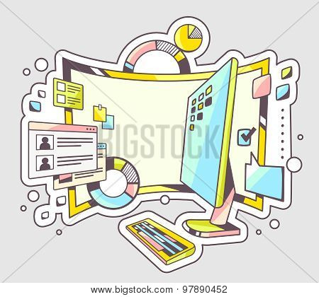 Vector Color Illustration Of Office Workplace With Charts And Monitor On Light Background.