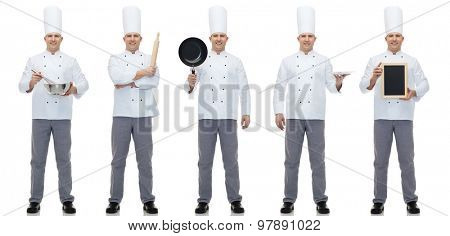 cooking, profession, advertisement and people concept - happy male chef cook showing and holding blank menu and kitchen utensils board