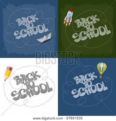 Back to School design with paper ship, space rocket,  air balloon and pencil.  Vector illustration.