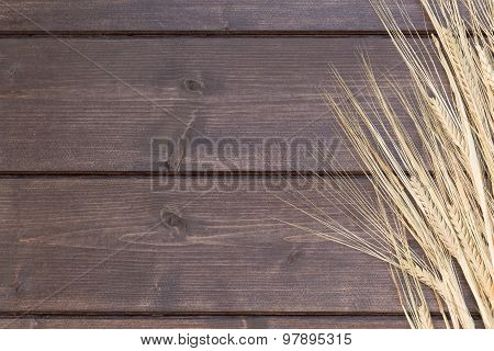 Ears Of Barley Are Lying On A Wooden Desk