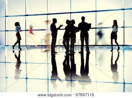 Business People Interaction Communication Colleagues Working Office Concept