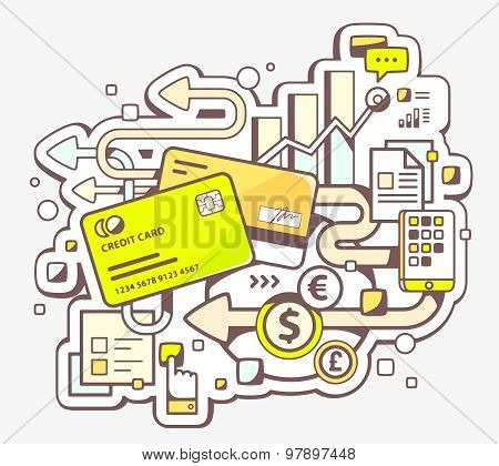 Vector Color Illustration Of Cashless Payment Via Credit Cards On Light Background.