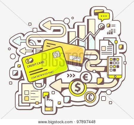 Vector Color Illustration Of Cashless Payment Via Credit Cards On Light Background.