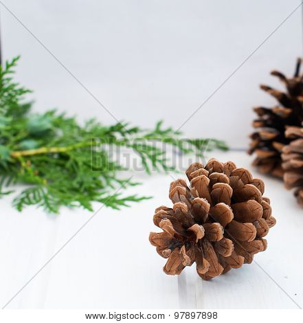 Christmas Card With Pine Cones And Spruce Branches