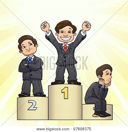 Businessmen are standing on pedestal 3