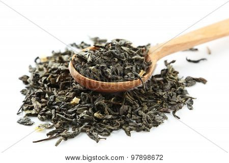 Dry Tea In Spoon On White Background